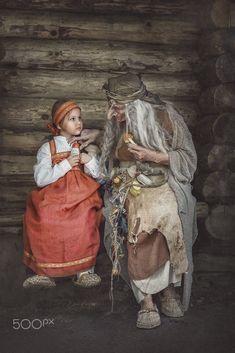 Wicked witch Baba Yaga & Alyonushka, Russian fairy story, costume portrait Dark Portrait, Baba Yaga, Wicked Witch, Portrait Photography, Fairy, Costumes, Fine Art, Witches, Painting