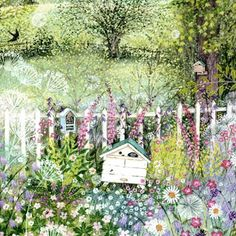 PL-ESK019 Pretty greetings card for any occasion illustrated with a country garden and beehive in late springtime, by Lucy Grossmith