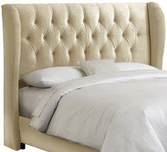 Skyline Furniture Velvet Tufted King Wingback Headboard