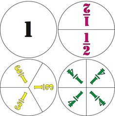 Here's a large set of ready-made fraction circles for one whole, halves, thirds, and fourths.