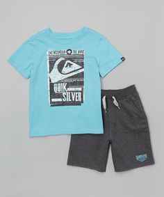 This Quiksilver Aqua & Charcoal Logo Tee & Shorts - Infant by Quiksilver is perfect! #zulilyfinds
