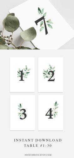 Wedding Table Numbers Printable Table Numbers Elegant Eucalyptus Green Wedding Decor - Decoration For Home Wedding Table Names, Wedding Table Centerpieces, Flower Centerpieces, Diy Wedding, Rustic Wedding, Wedding Reception, Centerpiece Ideas, Trendy Wedding, Wedding Book
