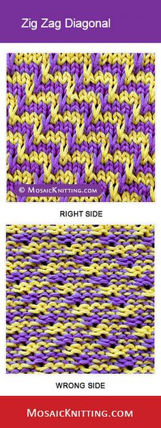 How to knit the Zig Zag Diagonal stitch (pattern 3). Nice mosaic knitting stitch!!