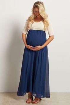 e50d324503ab2 Navy Chiffon Colorblock Tall Maternity Maxi Dress Baby Blue Maternity Dress,  Summer