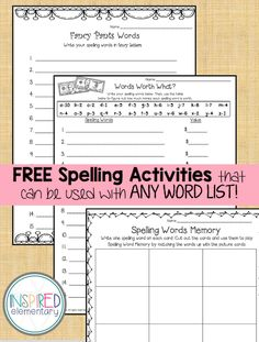 Free spelling activities that can be used with any list of words!
