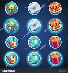 button set of icons for web video games, graphic and web designe