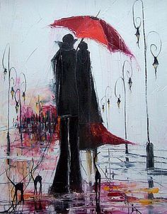 The red umbrella, by Justyna Kopania Umbrella Art, Under My Umbrella, Art Et Illustration, Illustrations, Rain Art, Paul Gauguin, Caravaggio, French Artists, Oeuvre D'art