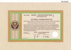 MAST-JÄGERMEISTER AG Global-Namensaktie 25 x 1.000 DM Okt. 1988 (Muster, R 10).