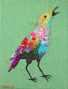 embroidered bird by kimikahara