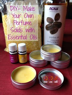 DIY- Make Your Own Perfume Solids with Essential Oils ~ 1 TBL Beeswax (melted), add 1 TBL Jojoba Oil & 40 drops of your choice essential oil combination.
