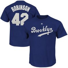 Men's Brooklyn Dodgers Jackie Robinson Majestic Navy Blue Cooperstown Player Name & Number T-Shirt