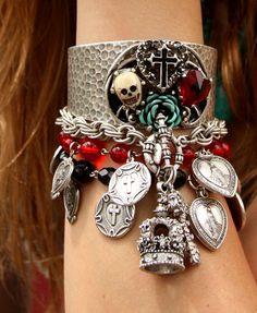 Mexican folk art, sacred heart bracelet