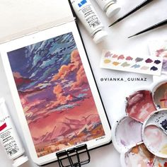 I can see Your heart in everything You say Every painted sky A canvas of Your grace If creation still obeys You so will I . Gouache Illustrations, Illustration Art, Kunst Inspo, Art Inspo, Aesthetic Painting, Aesthetic Art, Gouache Painting, Painting & Drawing, Beautiful Scenery Paintings