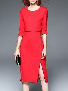 Red 3/4 Sleeve Cotton-blend Slit Midi Dress