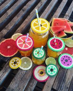 Fruit glass covers hama beads by kreamor_til_v