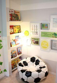 11 Creative Reading Nooks for Kids - love this for Joseph with a baseball instead of soccer ball! #primrosereadingcorner