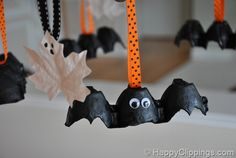 For the girls - Ghost leaves and egg carton bats. Goof proof because you just cover them in one paint color and stick on google eyes.