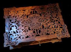 Antique 19th C Large ART NOUVEAU Black Forest Carved Box Casket