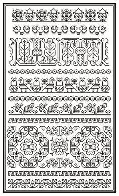 Brain Clutter: Blackwork pattern: Misc blackwork examples #4 Blackwork Cross Stitch, Blackwork Embroidery, Folk Embroidery, Cross Stitch Borders, Cross Stitch Samplers, Cross Stitch Kits, Cross Stitching, Cross Stitch Embroidery, Embroidery Patterns
