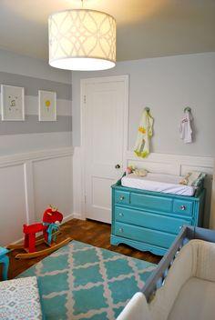 Whetstine Nursery- refinished changing table in aqua #genderneutralnursery