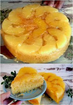 Pineapple cake: simple and inexpensive recipe - Pineapple cake: simple and cheap recipe / www. Donut Recipes, Mexican Food Recipes, Sweet Recipes, Cake Recipes, Köstliche Desserts, Delicious Desserts, Yummy Food, Pineapple Upside Down Cake, Pineapple Cake