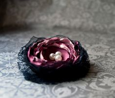 Pink satin organza and black lace accesory by CraftyBerry on Etsy, Pink Satin, Flower Crafts, Berry, Crafty, Trending Outfits, Lace, Unique Jewelry, Handmade Gifts, Vintage