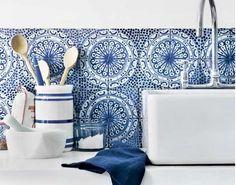 Decorative tiled splashback but in brown not blue                                                                                                                                                                                 More