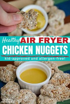 23 minutes · Serves 35 · Quick & easy Air Fryer chicken nuggets that kids will love! Homemade Chicken Nuggets, Chicken Nugget Recipes, Slow Food, A Food, Healthy Snacks, Healthy Recipes, Free Recipes, Nuggets Recipe, Air Fryer Healthy