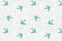 Take Flight, in Overcast Calm. Designer Fabric and Wallpaper by Sparrowsong Studios. /Custom colorways available! Birds and Clouds allover!