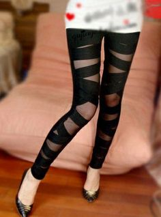 Sexy Mesh Banded Crossed Elastic Leggings on BuyTrends.com, only price $5.32