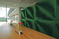 felt wall installation by Anne Kyyrö Quinn. Marvelous looking, reflects building use (National Tennis Centre dining hall) absorbs sound. Metropolis Magazine, Felt Wall Hanging, Visual Cue, Sound Absorbing, Textile Texture, Wall Installation, Felting, Things That Bounce, Activewear