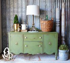 Deep Green Buffet Re-do by {Oliver & Rust} #GreenBuffet #PaintedFurniture