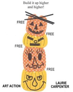 Pumpkins are the best part of Halloween. They come in all shapes and sizes and you can do so many things with them.  Why not try to build them in a tower higher and higher. This independent seat work Halloween art project for the elementary student, to be used in home school, classroom, or art room, allows the student total creativity in design and structure, as he creates a Halloween totem pole!