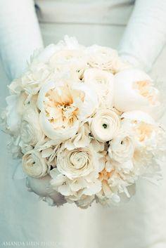 Beautiful white bouquet, peonies, ranunculus.