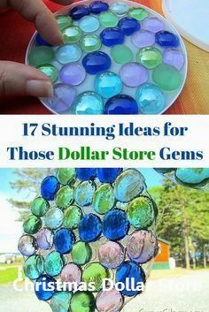 17 stunning ideas for how to craft with dollar store gems. store glass gem crafts 17 Stunning DIY Decor Ideas For Your Dollar Store Gems Gem Crafts, Diy And Crafts, Arts And Crafts, Crafts Cheap, Beaded Crafts, Diy Crafts Garden, Decor Crafts, Yard Art Crafts, Recycled Crafts