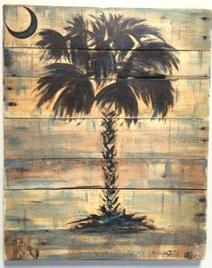 Palmetto Tree Sc Palm Art Rustic Wall Decor Beachy Coastal Reclaimed Wood Brown