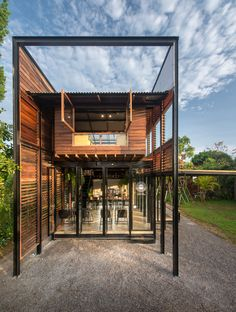 BodinChapa Architects 9 is part of Creative architecture Presentation Inspiration - BodinChapa Architects Photograph by Rungkit Charoenwat Steel Frame House, Steel House, Creative Architecture, Architecture Design, Wooden Cafe, Tyni House, Jungle House, Casas Containers, Shipping Container House Plans