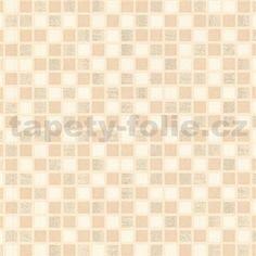 Vinylové tapety na zeď kachličky mozaika béžové