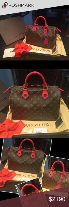 LImited edition LOUIS VUITTON Speedy 30 FLAMINGO LIMITED EDITION LOUIS VUITTON SPEEDY 30 COLLECTOR'S ITEM FLAMINGO COLOR 11.8 x 8.3 x 6.7 inches  (Length x Height x Width)   - Monogram coated canvas - Smooth Epi leather trim - Smooth Epi Toron handles - Color-coordinated textile lining - Golden color metallic pieces - Zip closure and padlock - 1 inside flat pocket  Guaranteed Authentic and Brand new, comes with dust bag and pouch. Original receipt and product tag are saved as well. 🚫NO…