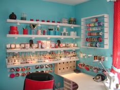 I want and love everything about this sewing room.