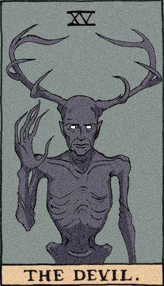 "The Devil, Tarot cards using characters from NBC's ""Hannibal"" antlers, favors the Wendigo, Satanic Art, Arte Obscura, Tarot Decks, Dark Art, Art Inspo, Art Reference, Illustration, Fantasy Art, Art Drawings"