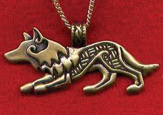 Celtic jewelry...Bronze Celtic Wolf Pendant,