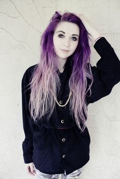 Dip dyed purple/ lavender hair