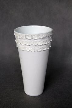 - porcelain decoration by lace Lace Vase, Rococo, Planter Pots, Porcelain, Pure Products, Elegant, Decoration, Classy, Decor