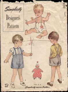 Simplicity 8292 Vintage 1950s Designer Boys' Shirt Playsuit Sz 1