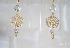 Goldfilled and vermeil earrings, prasiolite, amethyst, lemon quartz http://www.facebook.com/ateliergabymarcos