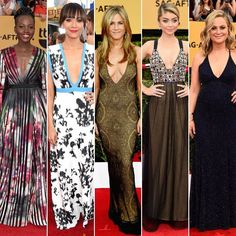Jennifer Aniston is an actress best known for her role as Rachel Green on Friends. Low Cut Dresses, Dress Cuts, Rachel Green, Sag Awards, Jennifer Aniston, Popsugar, Actresses, Celebrities, Fashion