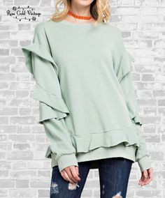 028fe8c196 Ruffle Statement Top - Green Blue – Rose Gold Vintage