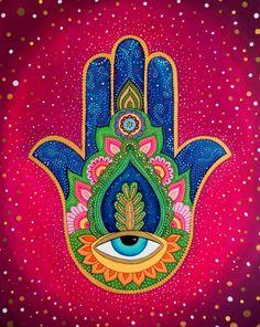 Excellent simple ideas for your inspiration Mandala Art, Mandalas Painting, Hamsa Art, Hamsa Design, Spiritual Paintings, Classroom Art Projects, Arte Sketchbook, Hand Of Fatima, Hippie Art