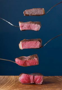 Great illustration of steak that's been precision-cooked to different temperatures (from Heston Blumenthal at home).